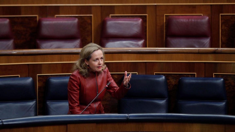 Nadia Calviño, vicepresidenta económica del Gobierno, durante una sesión del Congreso. (EFE)