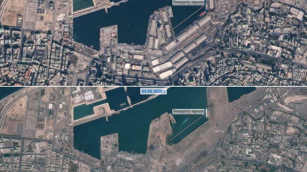 Foto: El antes y el después de la explosión en la zona del puerto en Beirut (Reuters)