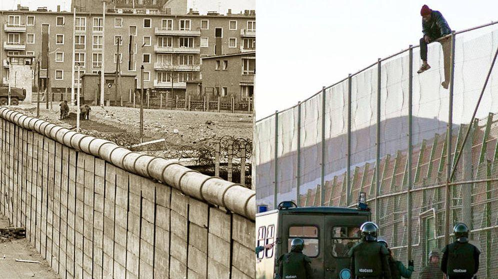 Foto: El muro de Berlín y la verja de Ceuta