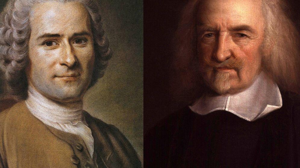 Foto: Jean Jaques Rousseau y Thomas Hobbes