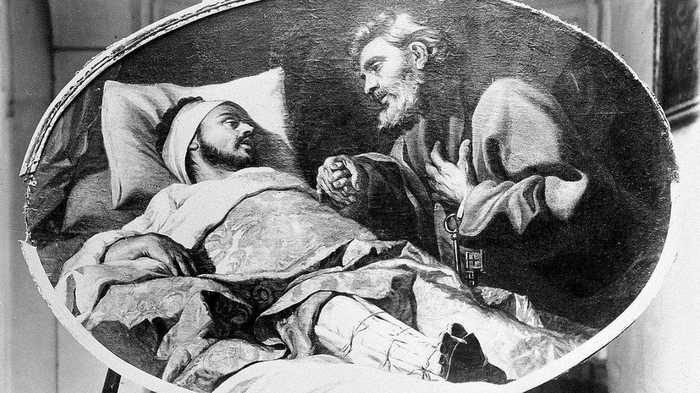 San Ignacio, convaleciente en la cama tras la operación de pierna, tiene una visión de San Pedro; obra de Antoine de Fauvrey expuesta en La Curia del Arzobispo, Malta. (C.C.)