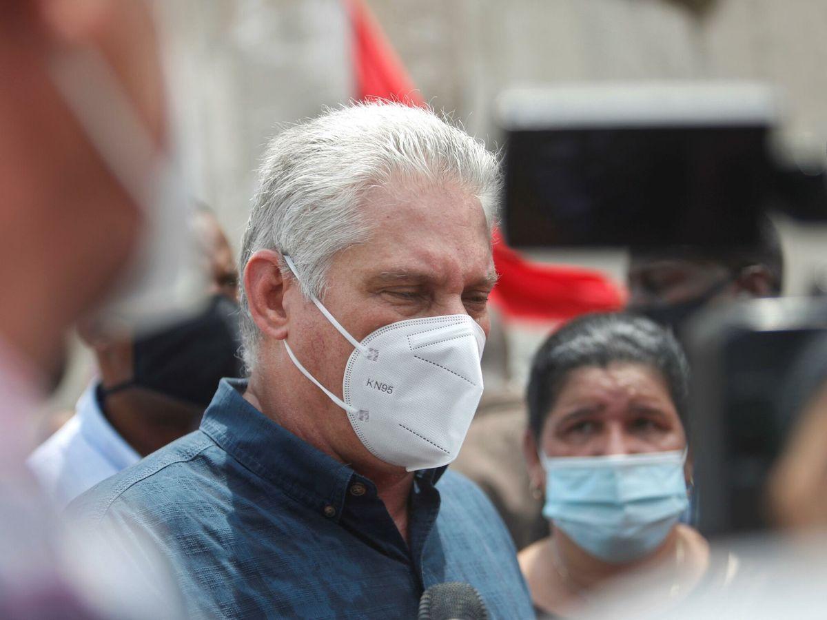 Foto: El presidente de Cuba, Miguel Díaz-Canel, declara ante los medios. (EFE)