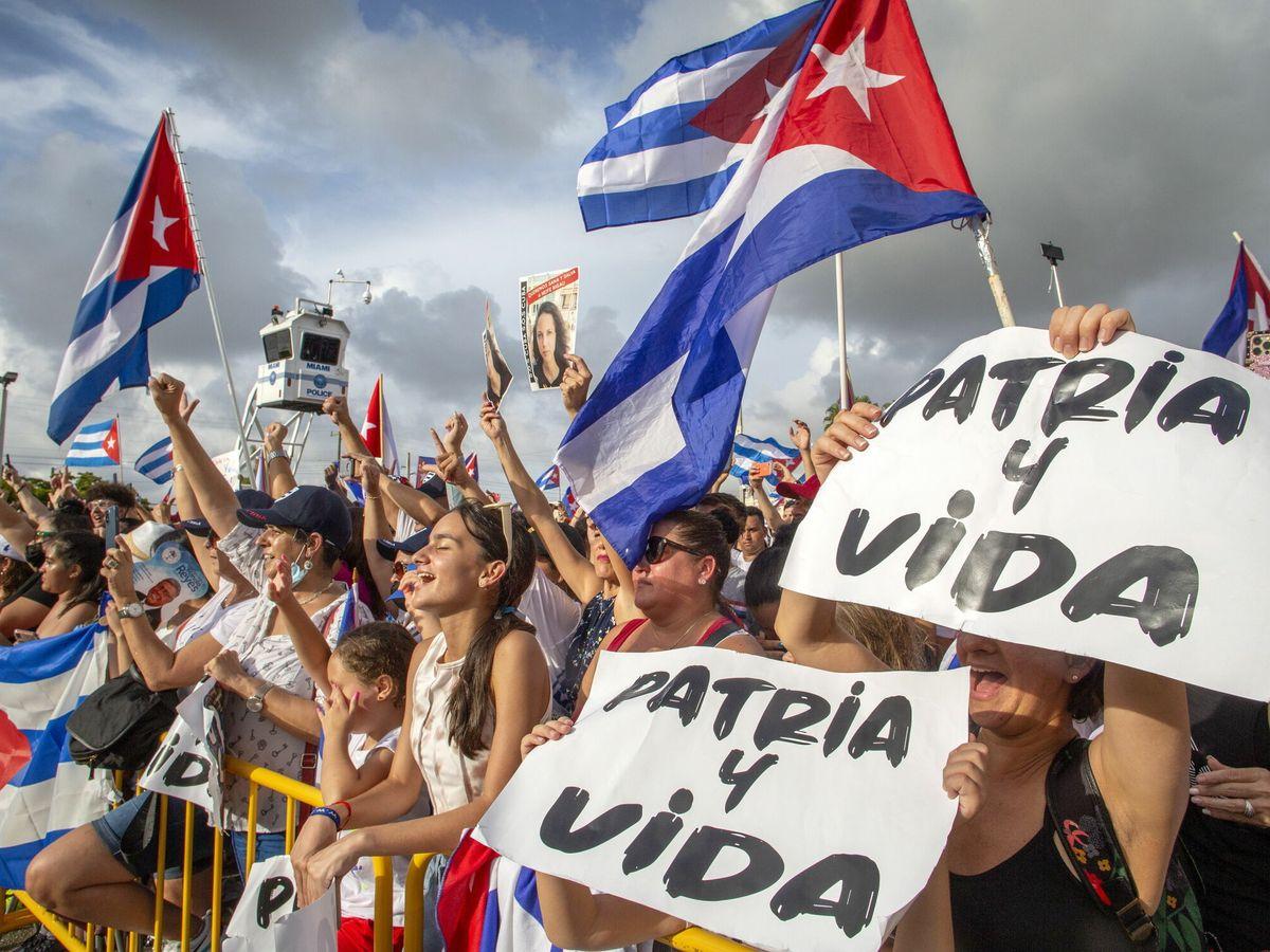 Foto: Protestas de cubanos en Miami. (EFE)