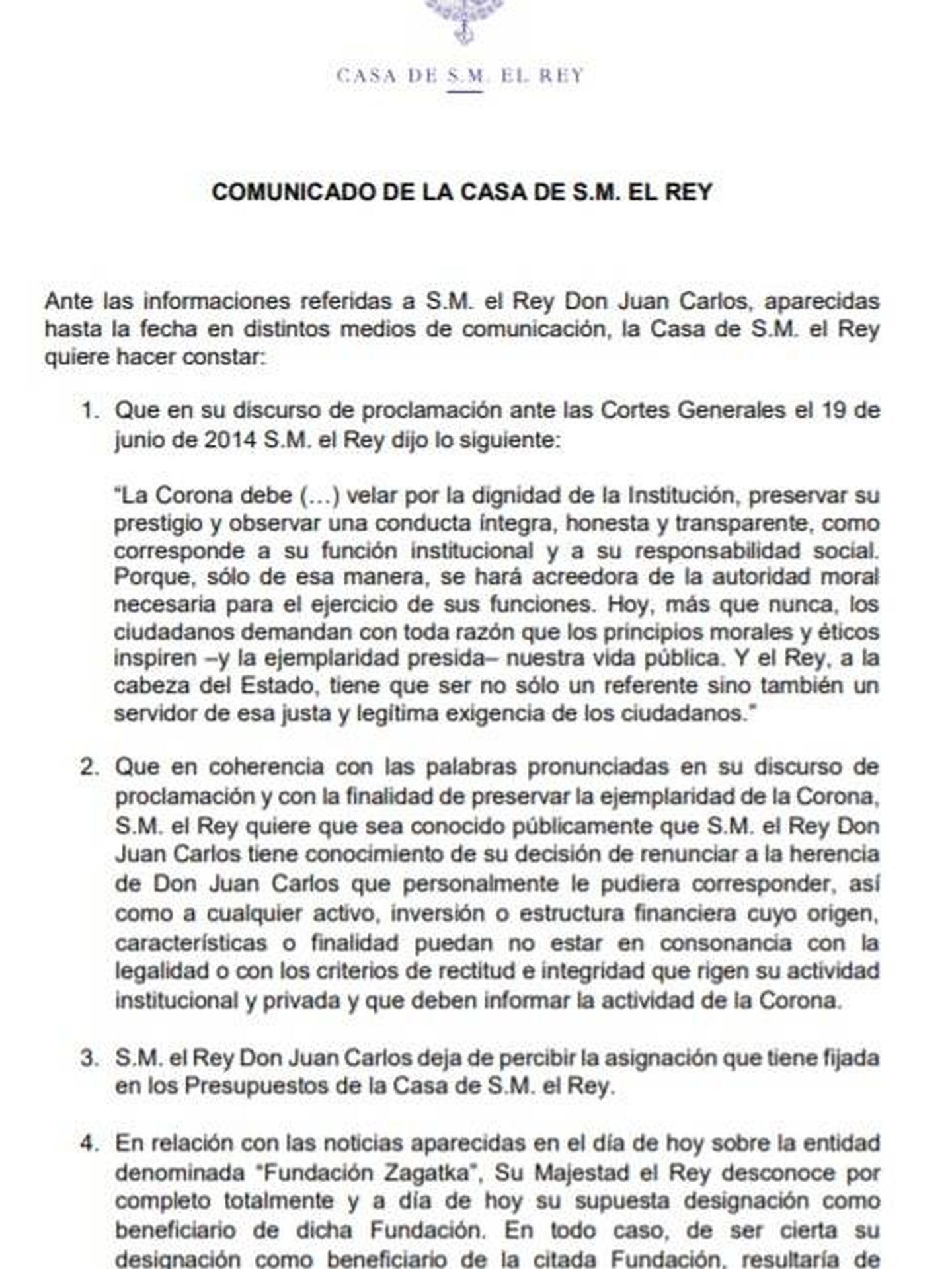 Consulte aquí en PDF el comunicado de Felipe VI por el que renuncia a la herencia de don Juan Carlos y le retira su asignación.