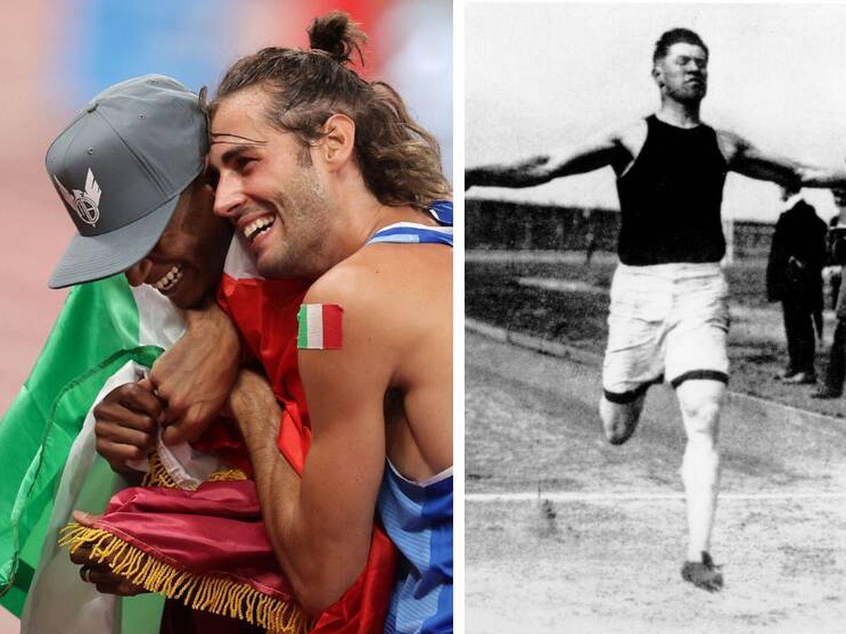 Foto: A la izquierda, Barshim y Tamberi se abrazan tras repartirse los oros; a la derecha, Jim Thorpe, ganador del oro en pentatlón y decatlón que también compartió sus preseas