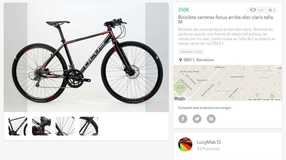 Foto: Captura del anuncio de venta de la supuesta bicicleta robada