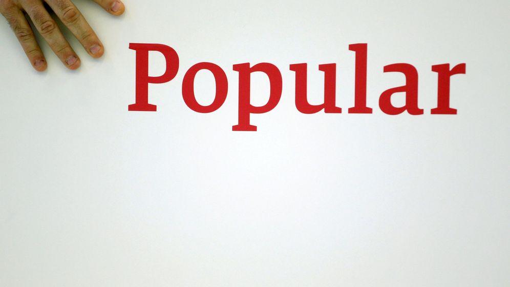 Foto: El logotipo del Popular, en una presentación de resultados. (Reuters)