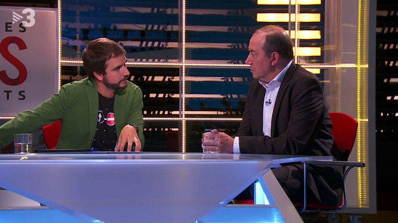 Vicent Sanchís (d), en TV3, días antes del 1-O, cuando dijo que solo asumía la legalidad del Parlament.