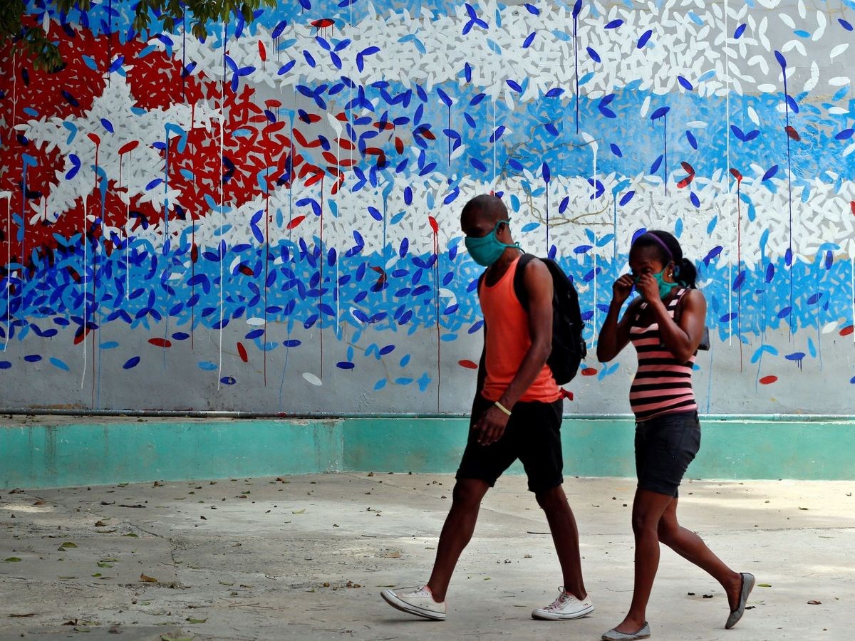 Foto: La bandera cubana en un mural. (EFE)