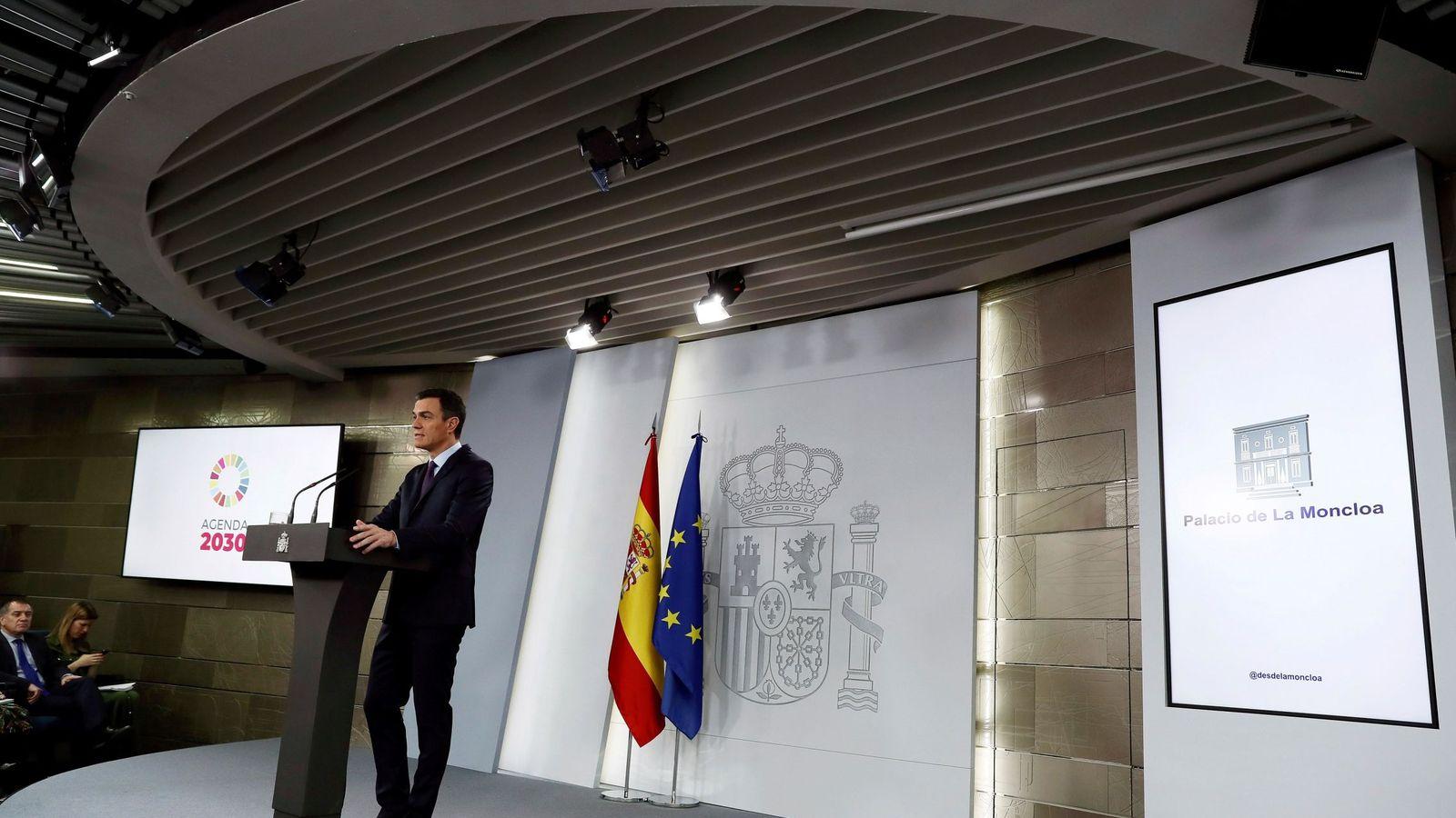 Foto: Pedro Sánchez, durante su declaración institucional en la Moncloa de este 4 de febrero. (EFE)