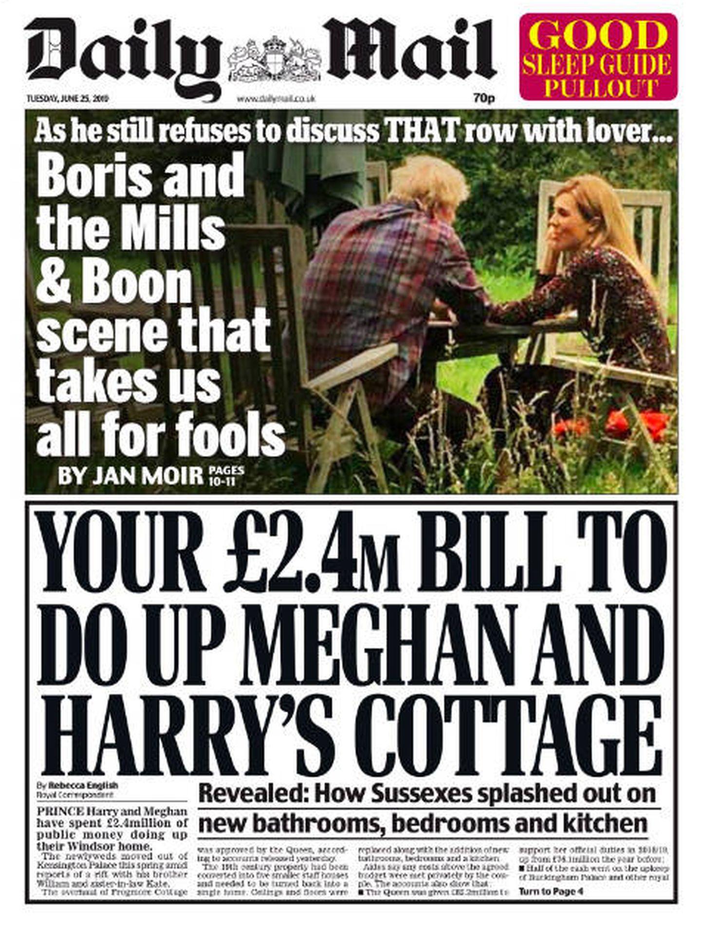 Portada de la edición en papel del 'Daily Mail' del 25 de junio.