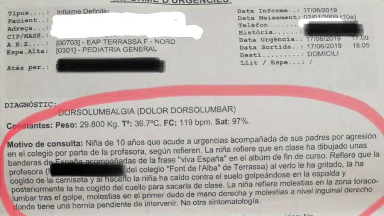 Detalle del informe de urgencias del Hospital de Terrassa.