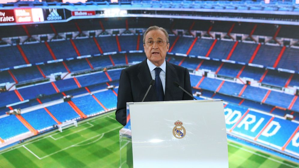 Foto: Florentino Pérez en un acto en el Santiago Bernabéu. (EFE)