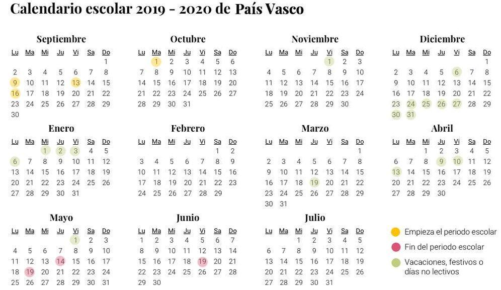 Calendario Diciembre 2020 Navideno.Calendario Escolar De 2019 2020 En Pais Vasco Vacaciones Y