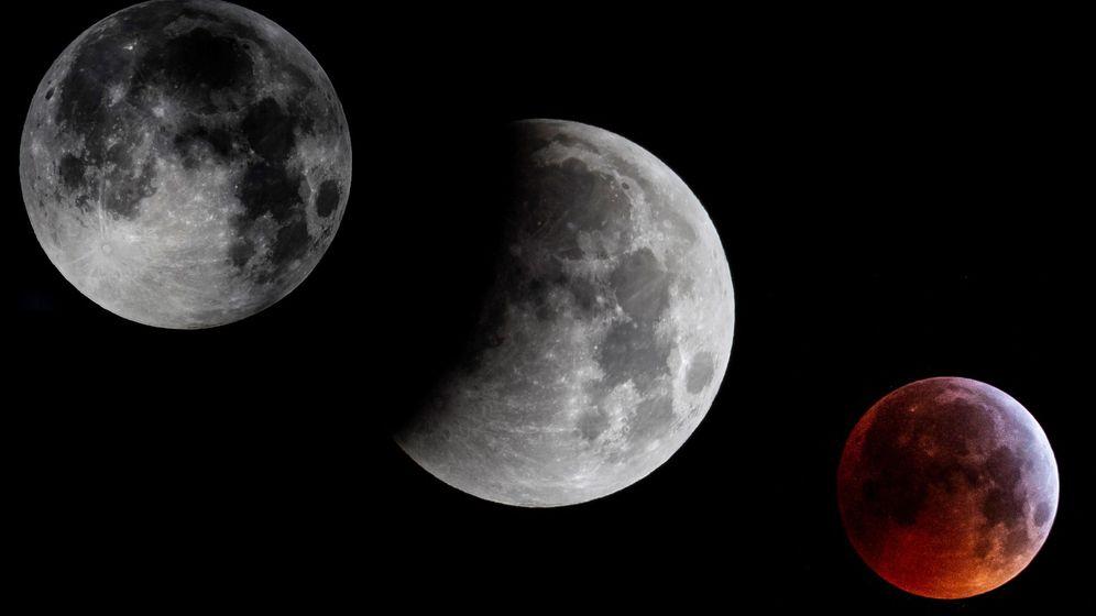 Foto: Composición del eclipse total de luna que ha tenido lugar esta madrugada visto desde Mallorca. (EFE)