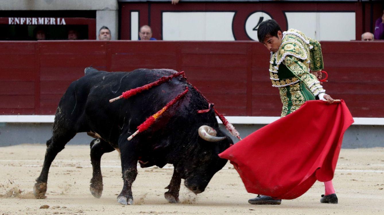 Foto: El diestro Gómez del Pilar da un pase a su primer astado en el vigésimo festejo de la Feria de San Isidro. (EFE)