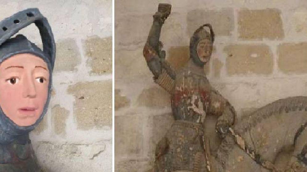 Foto: La restauración del San Jorge del siglo XVI que se encuentra en la iglesia de San Miguel de Estella. (Foto: ArtUs Restauración)