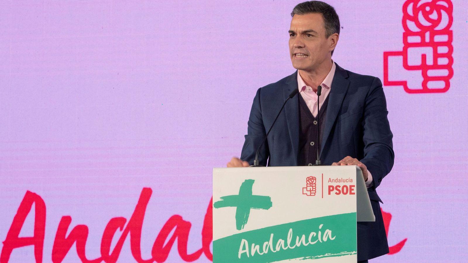 Foto: Pedro sánchez en acto de campaña en Chiclana