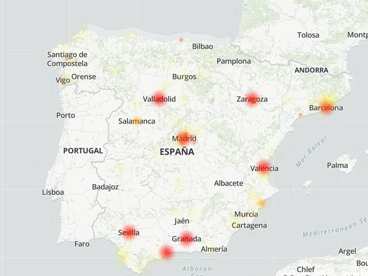 Foto: Así ha afectado la caída de MásMóvil, Yoigo y Pepephone. (Downdetector)