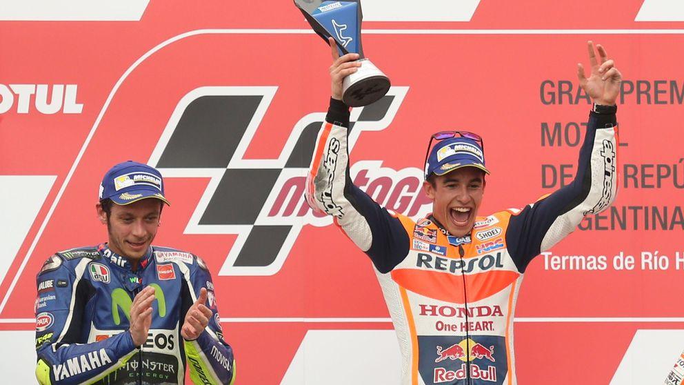 Márquez gana en Argentina y Rossi sube al podio tras la caída fratricida de Ducati