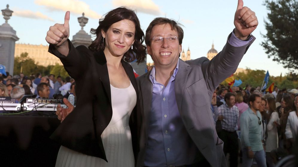 Foto: Los candidatos del PP a la Comunidad de Madrid y al Ayuntamiento de la capital, Isabel Díaz Ayuso y José Luis Martínez-Almeida. (EFE)