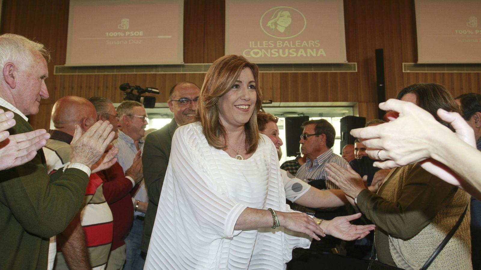 Foto: Susana Díaz, este 5 de mayo durante su acto con militantes en Palma. (EFE)