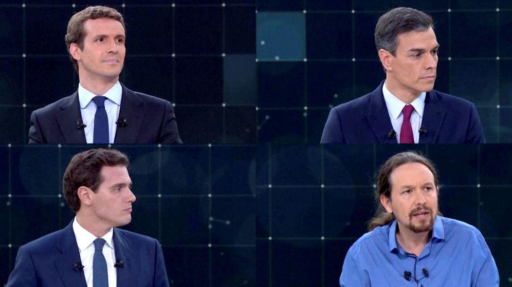 Foto: De arriba abajo y de izda. a dcha: Pablo Casado, Pedro Sánchez, Albert Rivera y Pablo Iglesias. (Reuters)