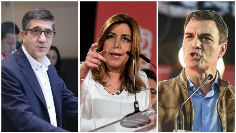 Foto: Patxi López, Susana Díaz y Pedro Sánchez, los tres principales precandidatos a las primarias socialistas. (EFE)