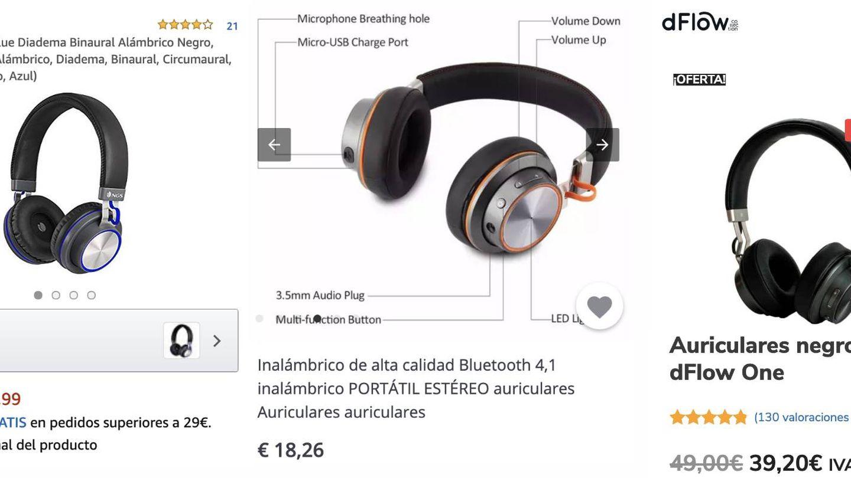 Comparativa entre los auriculares. De izquierda a derecha: NGS, AliExpress y dFlow