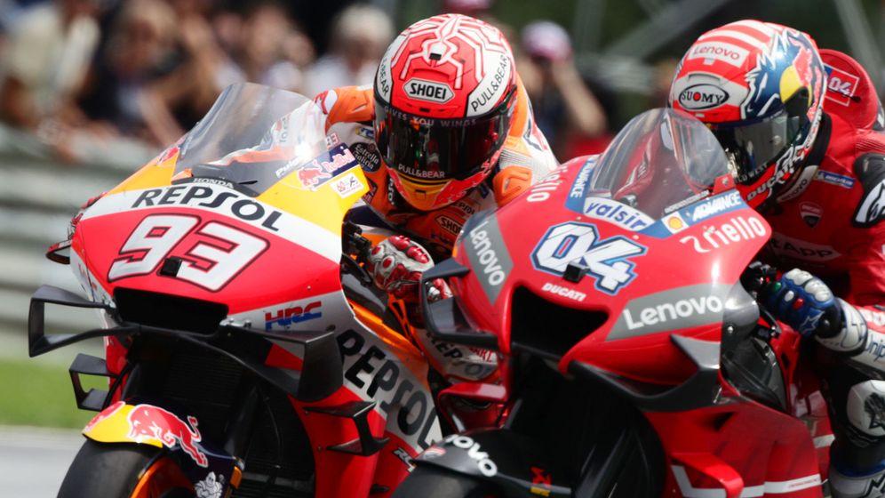 Foto: Detalle del duelo vivido entre Marc Márquez y Andrea Dovizioso en el pasado Gran Premio de Austria. (Reuters)
