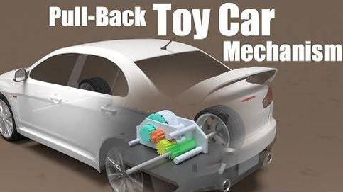Este es el mecanismo de los coches de juguete para que avancen al echarlos hacia atrás