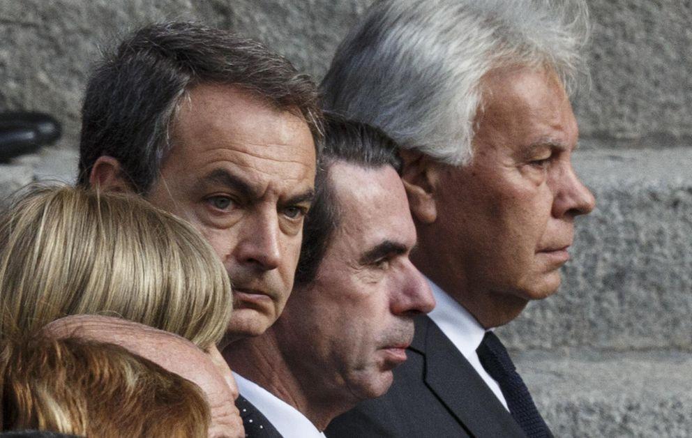 Los ex presidentes Rodríguez Zapatero, José María Aznar y Felipe González (Reuters)