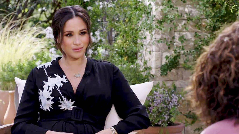 Meghan Markle, durante su entrevista con Oprah. (CBS)