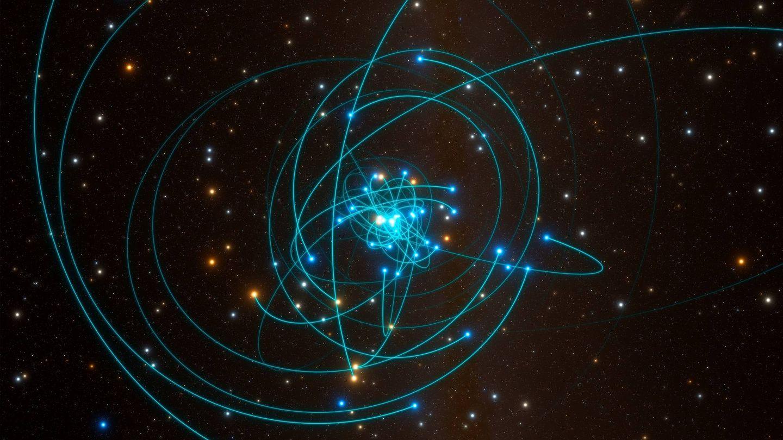 Una simulación muestra el 'baile de estrellas' alrededor de Sagitario A*. (ESO/L.Calçada)