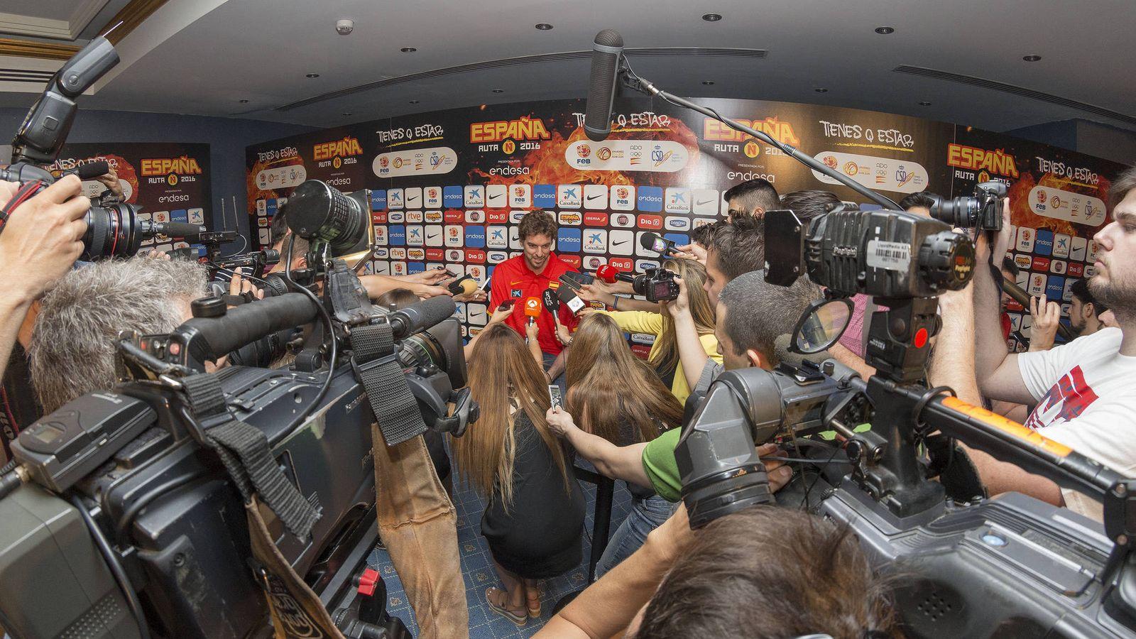Foto: Pau Gasol fue el más solicitado por la prensa (Alberto Nevado/FEB)