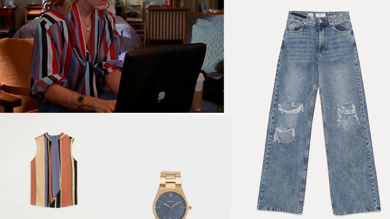 Camisa de Mango, reloj de Parfois y jeans de Bershka.