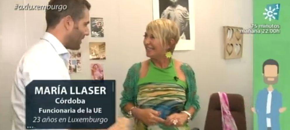 Foto: María LLáser en el programa 'A por Europa' de Canal Sur
