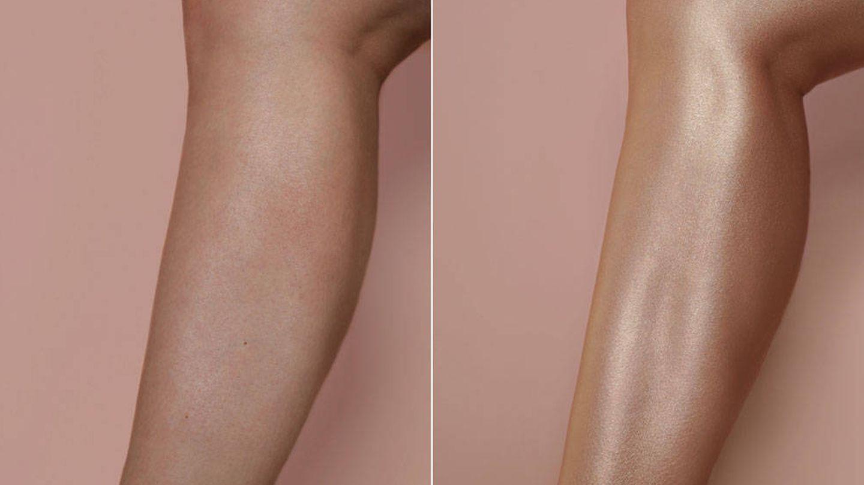 Antes y después de usar la crema bronceadora de Huda Beauty.