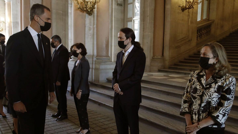 El rey Felipe y Pablo Iglesias, en el homenaje a las víctimas de coronavirus. (EFE)