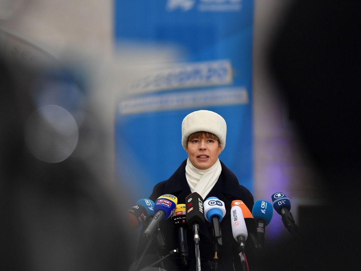Foto: La presidenta de Estonia, Kersti Kaljulaid, en una conferencia de prensa este martes. (Reuters)