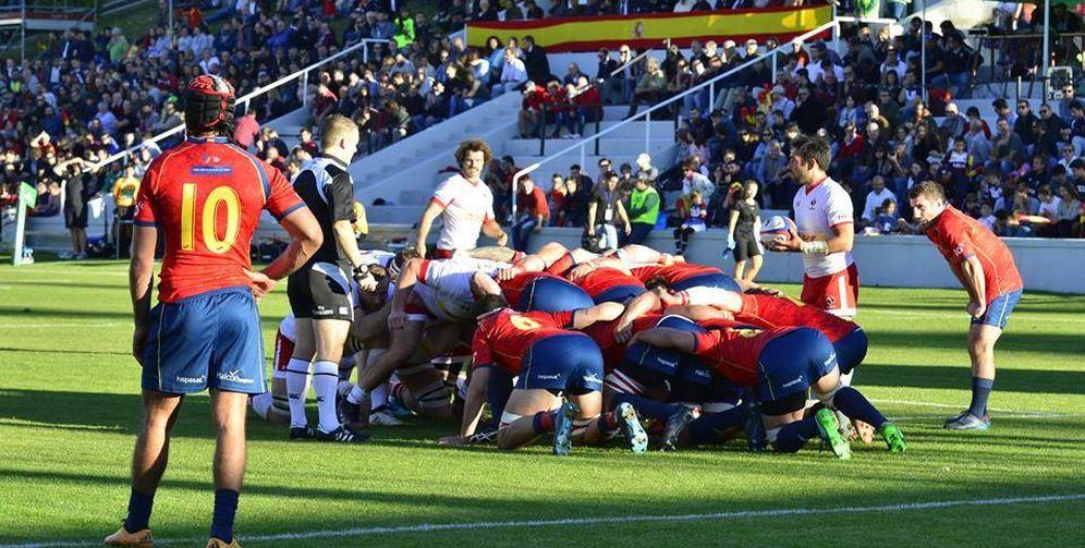 Foto: Imagen del partido que disputaron en Madrid España y Canadá. (FERUGBY)