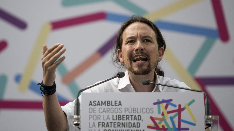 Pablo Iglesias, durante su intervención en el acto de Zaragoza. (EFE)