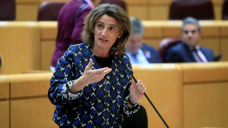 La ministra para la Transición Ecológica, Teresa Ribera, durante una sesión de control al Gobierno en el pleno del Senado. (EFE)