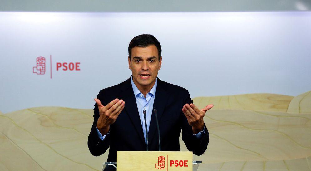 Foto: Pedro Sánchez, durante la rueda de prensa de este 26 de septiembre en Ferraz, tras la reunión de la permanente. (Reuters)