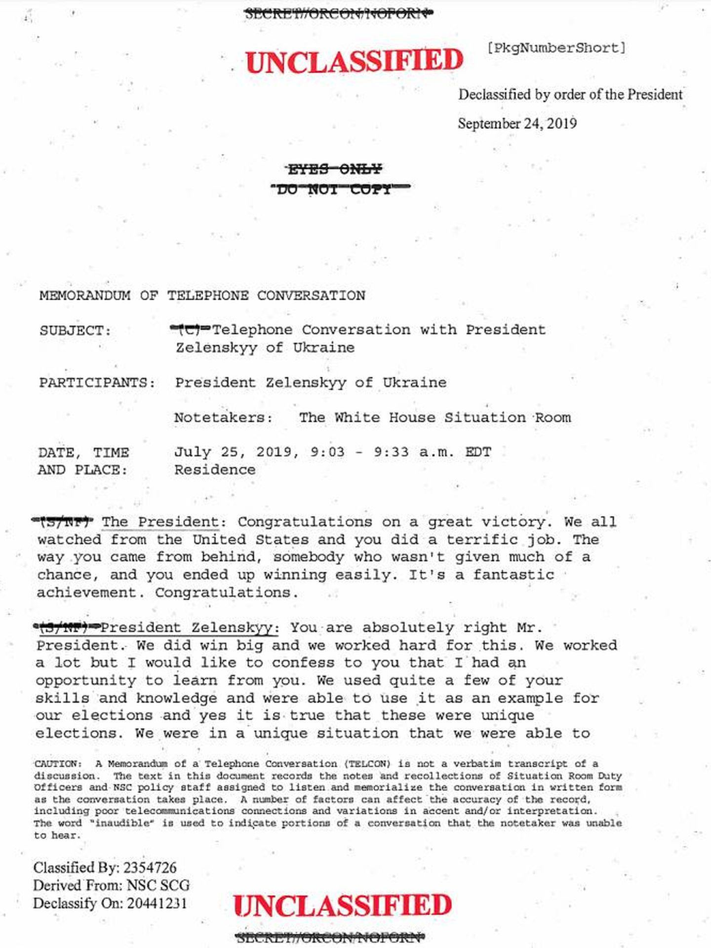 Captura de la primera página de la transcripción de la llamada.