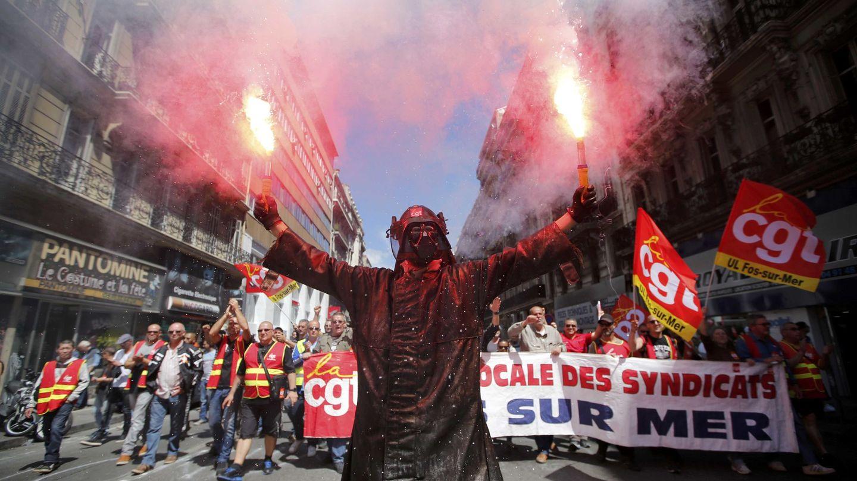 Protesta de trabajadores del metal en Marsella. (Efe)