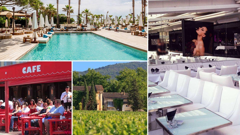 De izquierda a derecha y de arriba a abajo: el beach club Nikki Beach, el restaurante asiático Le Quai, las bodegas Bertaud Belieu y el bistró Le Senequier.