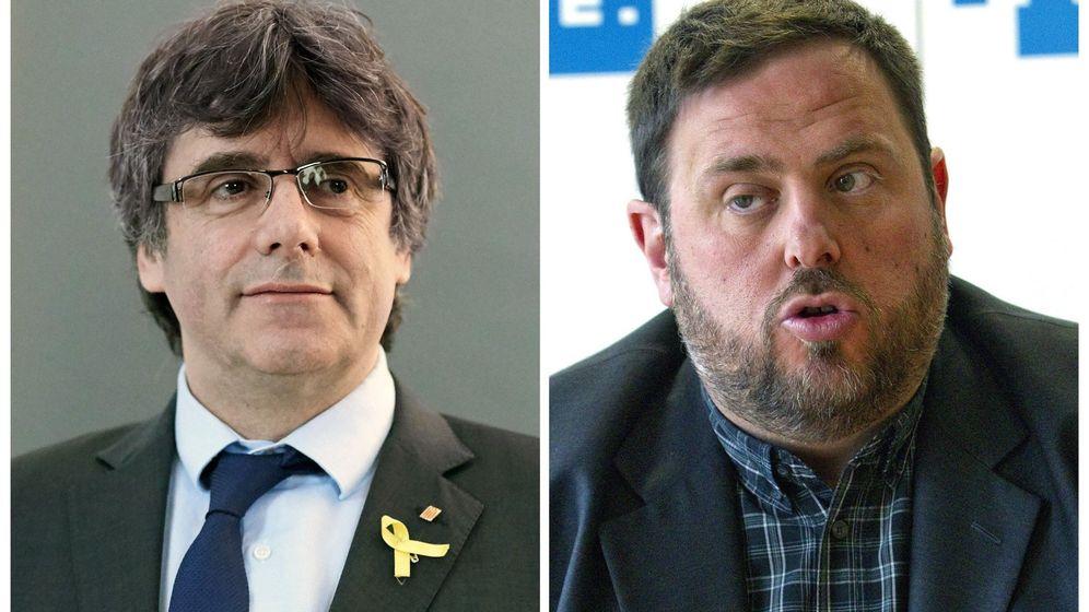 Foto: Fotografías de archivo del expresidente catalán Carles Puigdemont y el exvicepresidente Oriol Junqueras. (EFE)