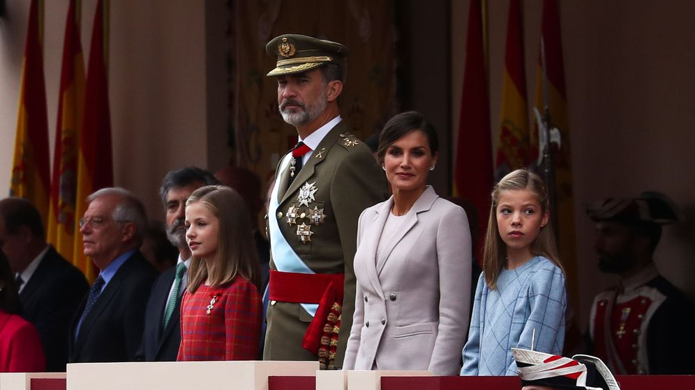 Foto: La Princesa Leonor, en la tribuna, a la derecha del Rey. (Reuters)