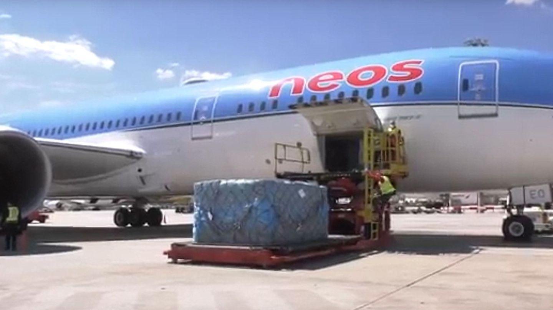Uno de los aviones que ha llegado esta tarde procedente de China. (Efe)